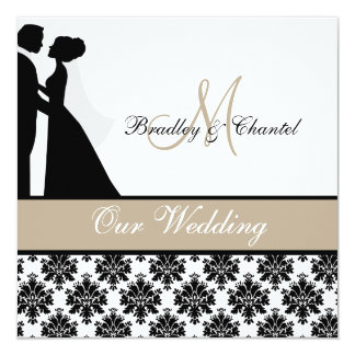 TAN-Hochzeits-Paar-Hochzeits-Einladung Quadratische 13,3 Cm Einladungskarte