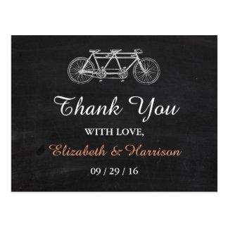 Tandemfahrrad auf Tafel-Hochzeit danken Ihnen Postkarte
