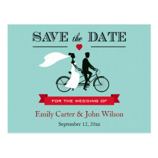 Tandemfahrrad, das Save the Date Postkarte Wedding