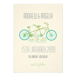 Tandemfahrrad Fahrrad modernes Wedding Save the Personalisierte Einladungskarten