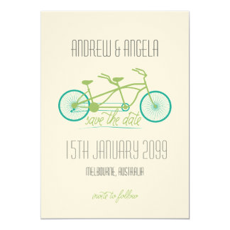 Tandemfahrrad/Fahrrad modernes Wedding Save the 12,7 X 17,8 Cm Einladungskarte