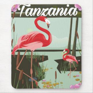 Tansania - See Natron - Flamingoreiseplakat Mousepads