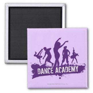 Tanz Acadmey Tänzer-Silhouette-Logo Quadratischer Magnet