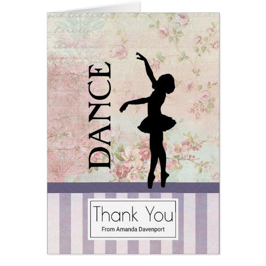 Tanz - die Vintage Ballerina-Silhouette danken Karte