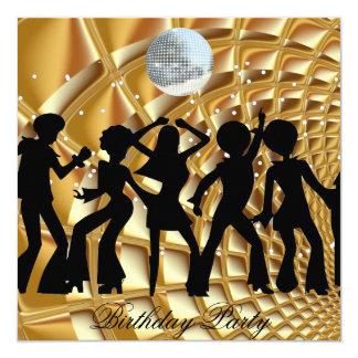 Tanz-Disco-Geburtstags-Party-Goldeinladung Karte