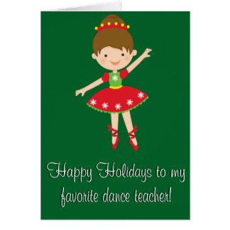 Tanz-Lehrer-frohe Feiertage Karte