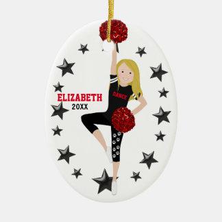 Tanz Pom Mädchen-blondes Schwarzes und Rot Keramik Ornament