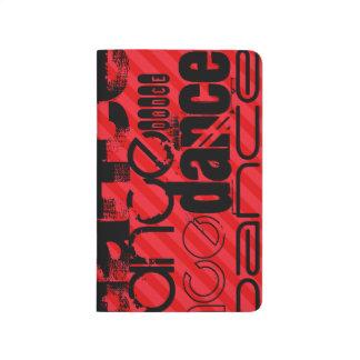 Tanz; Scharlachrot Rot-Streifen- Taschennotizbuch
