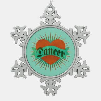 Tanz-Schmutz-Herz Schneeflocken Zinn-Ornament