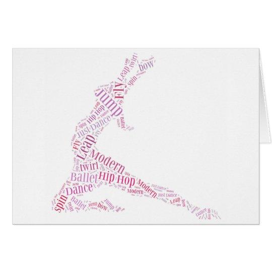 Tanz-Wort-Wolken-Rosa Karte