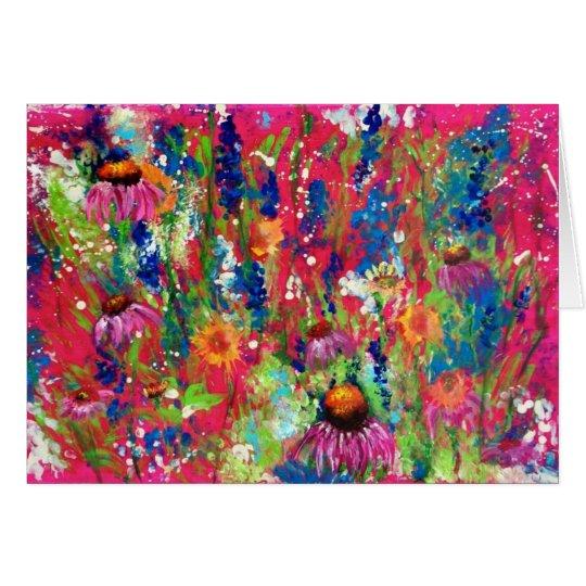 Tanzen-Blumen im Rosa Grußkarte
