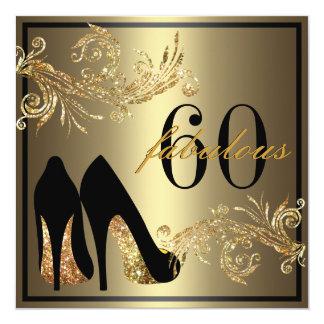 Tanzen-Schuhe - fabelhafte 60. Quadratische 13,3 Cm Einladungskarte