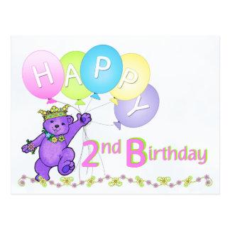 Tanzen-Teddybär-2. Geburtstag Postkarte