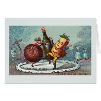 """""""Tanzen-Weihnachtsnahrung!"""" Vintage Karte Karte"""