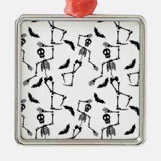 Tanzenskelette Quadratisches Silberfarbenes Ornament