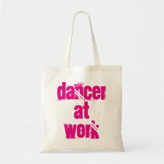 Tänzer an der Arbeits-weißen/rosa Taschen-Tasche Tragetasche