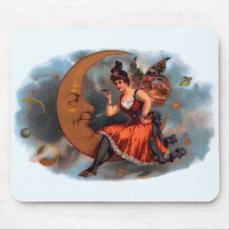 Tapis De Souris Art vintage d'étiquette de cigare, fée victorienne