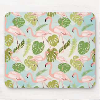 Tapis De Souris Hand drawn pink flamant and monstera leaves. Seam