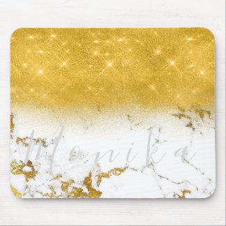 Tapis De Souris Marbre gris blanc d'or nommé minimal de Carrare