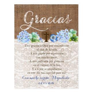 Tarjeta de Gracias Betrug oración Para Bautizo Postkarte