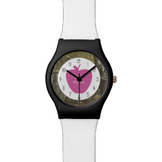 Tarnung + Rosa Apple-Lehrer Armbanduhr
