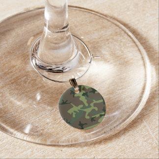 Tarnungs-Camouflage-Grün-Brown-Muster Weinglas Anhänger