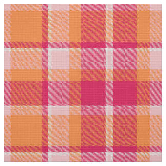 Tartan-Muster orange und rosa ID210 Stoff