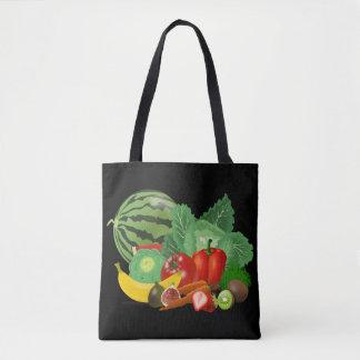 tasche des Tuchs Früchte im schwarzen Grund