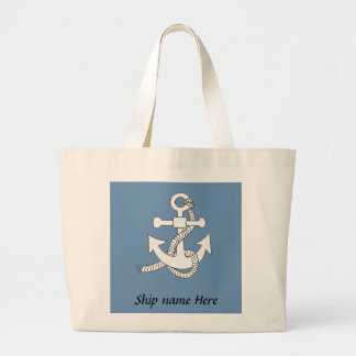 Taschen-Tasche - Anker mit Schiffs-Namen Jumbo Stoffbeutel