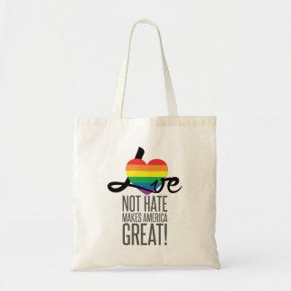 Taschen-Tasche des Liebe-nicht Hass-(Regenbogen) Tragetasche