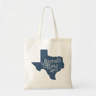 Taschen-Tasche Kunst-Deko-Art-Austins Texas - Blau Budget Stoffbeutel