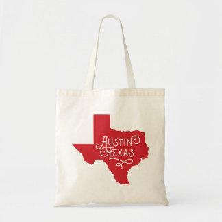 Taschen-Tasche Kunst-Deko-Art-Austins Texas - Rot Budget Stoffbeutel