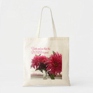 Taschen-/Taschen-rosa Gänseblümchen mit Scripture Tragetasche