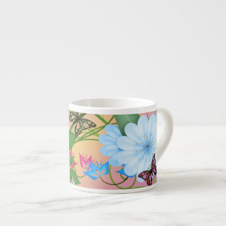 TASSE DE CAFÉ EXPRESS - BUTTERFLIES/FLOWERS MUG POUR EXPRESSO