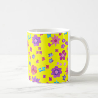 Tasse de café jaune de Flower power d'arrière - pl