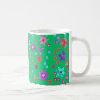 Tasse de café verte de Flower power d'arrière - pl