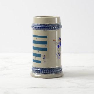 Tasse Grieche-Flagge Grauer/des Blaus 22 Unze