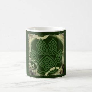 Tasse, keltischer Knoten, Hundepfote, grün Kaffeetasse