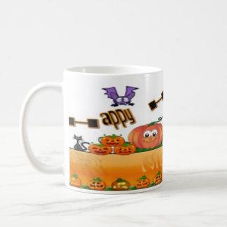Tasse, Weiß, volle Verpackung, Halloween-Bild Kaffeetasse