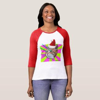 Tastatur-Katzen-Weihnachtsmannmützedamen-Shirt T-Shirt