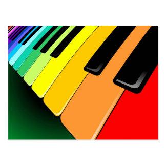 Tastatur-Musik-Party-Farben Postkarte