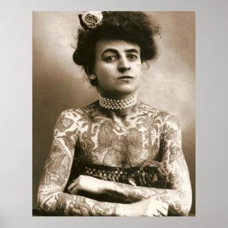 Tätowiert mit Perlen viktorianische Dame Poster