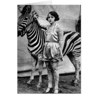 Tätowierte Zirkusdamen-und Zebra-Gruß-Karte Karte