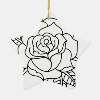 Tätowierungs-Rose Keramik Ornament