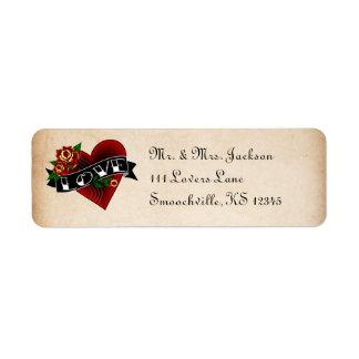 Tätowierungs-Rosen-Rücksendeadressen-Aufkleber