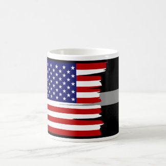 Tattered amerikanische Flagge versilbern dünn Kaffeetasse