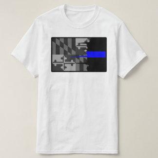 Tattered Maryland-Flaggen-dünn blaue Linie T - T-Shirt