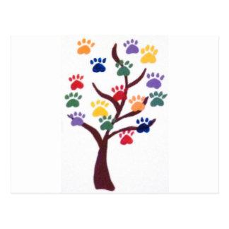 Tatzen-Druck-Baum-Entwurf - Mehrfarben Postkarte