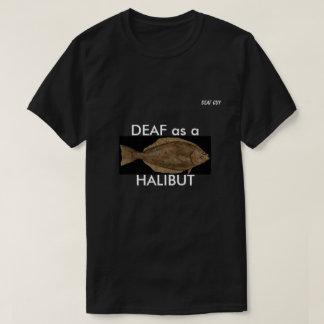 TAUB als HEILBUTT auf Schwarzem T-Shirt