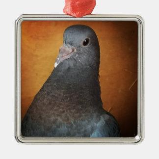 Taube Quadratisches Silberfarbenes Ornament